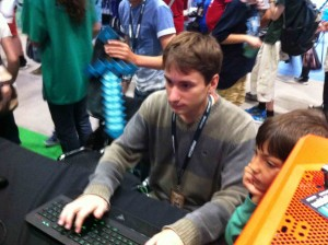 Here one of our pro players is setting up for a challenge. He was throughout minecon, undefeated.